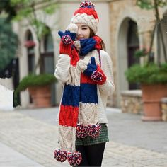 Winter knit striped hat scarf and gloves set for women colorful hairball decoration