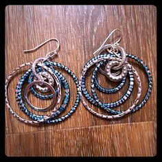 2 pairs/$8, Unique Earrings Fun hoop earrings with a pop of blue. All earrings are two pairs for $8. Comment and I'll bundle for you. Jewelry Earrings