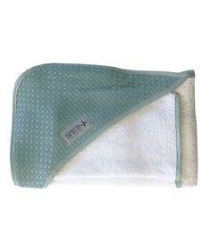 Bamboom - Ręcznik z Kapturem z Myjką 100% Bambus Organiczny Biały/Zieleń Butelkowa