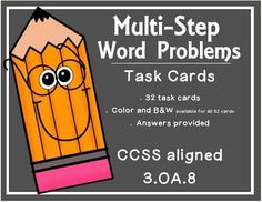 This set of task cards includes 32 word problems that require students to use different combinations of addition, subtraction, multiplication, and division to solve the problems.  Task cards are perfect for centers, independent practice, partner work, and more!This set includes:- 32 color task cards- 32 black and white task cards- recording sheet- answersThis product works well with:Clue Words Bundle:https://www.teacherspayteachers.com/Product/Word-Problem-Clue-Words-BUNDLE-2152122CUBES…