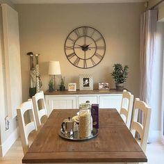 Dining room buffet decor buffet ideas on farmhouse incredible dining room sideboard decorating ideas with best Dining Room Sideboard, Dining Room Walls, Dining Room Sets, Dining Room Design, Living Room Decor, Dining Room Clock, Beige Living Rooms, Conservatory Dining Room, Shabby Chic Dining Room