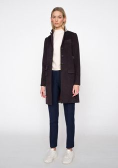 Nelson Coat in Dark Aubergine Fall Winter, Autumn, Ready To Wear, Normcore, Dark, Coat, Skirts, How To Wear, Jackets