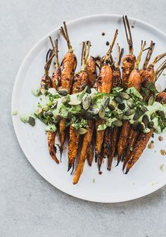 Roasted Carrots with Black Garlic & Herb Yoghurt / Top with Cinnamon