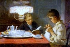 Elin Kleopatra Danielson-Gambogi (Finnish painter) 1861 - 1919 Sisarukset (Sisters), 1891 oil on canvas 37 x 55 cm. Art Works, Classic Art, Painter, Collaborative Art, Painting, Reading Art, Time Art, Art, Oil Painting Reproductions