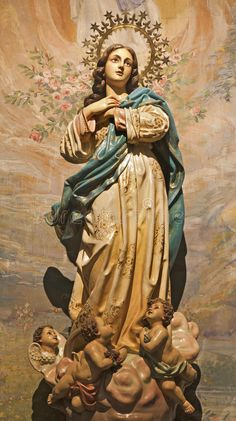 Palermo - Immaculate Conception Statue Stock Photo - Image of saint, interior: 30918000 Blessed Mother Mary, Blessed Virgin Mary, Catholic Art, Religious Art, Jungfrau Maria Statue, Madonna, Catholic Wallpaper, Virgin Mary Statue, Jesus Christus
