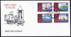 British Virgin Islands First Day Cover Scott #721-24 (20 Sep 1991) Set of four stamps showing Ships of Explorers of Discovery: Ferdinand Magellan 1519-1521, Rene Robert de la Salle 1682, John Cabot 1497-1498, Jacques Cartier 1534.   Cover cachet of the Santa María and spaceship Columbia and cancellation: Road Town British Virgin Islands and First Day of Issue 20 Sep 1991.