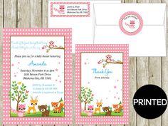 Printed PINK WOODLAND ANIMALS Baby Shower by mycaketopperdesigns