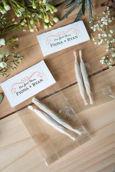 Wedding Favor: De-lightful Joints and Buds - Marijuana Wedding Favors Marijuana Wedding Project Ideas Project Difficulty: Simple MaritimeVintage - Wedding Reception Ideas, Unique Wedding Favors, Wedding Party Favors, Wedding Trends, Unique Weddings, Our Wedding, Wedding Planning, Dream Wedding, Wedding Decorations