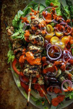 Grilled Chicken Souvlaki Greek Salad from HeatherChristo.com
