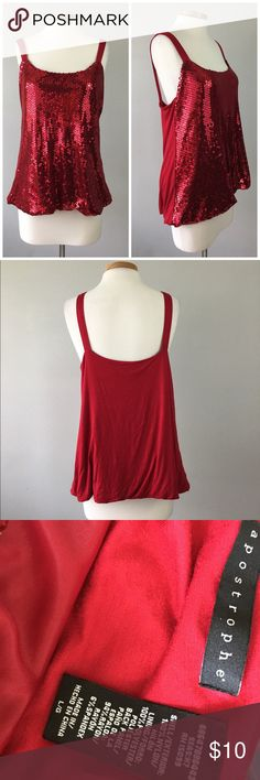 Apostrophe Red Sequin Stretch Tank Top Apostrophe Red Sequin Stretch Tank Top. Size large.  Thank you for looking at my listing. Please feel free to comment with any questions (no trades/modeling).  •Condition: VGUC, no holes or stains.   ✨Bundle and save!✨10% off 2 items, 20% off 3 items & 30% off 5+ items! IA Apostrophe Tops Tank Tops