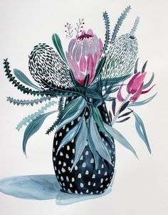 """""""Ceramic Vase of Australian Natives"""" by Sally Browne. Paintings for Sale. Bluethumb - Online Art Gallery"""