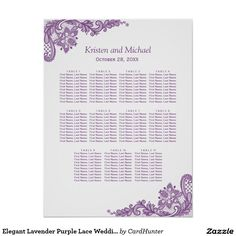 """Elegant Lavender Purple Lace Wedding Seating Chart Poster ================= ABOUT THIS DESIGN ================= Elegant Lavender Purple Lace Wedding Seating Chart Poster. (1) Please click the """"Customize it"""" button and use our design tool to enter guests names. (2) The background color is changeable. All text style, colors, sizes can also be modified to fit your needs. (3) If you need any customization or matching items, please feel free to contact me. (In case you didn't get my response…"""