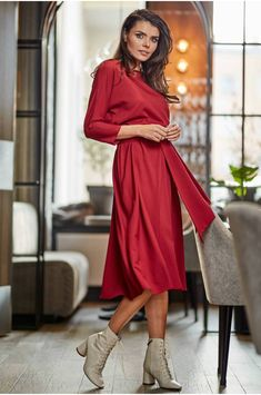 Haine de dama Suceava online.Rochii, cardigane, bluze, camasi, salopete, Geaca Loose Tops, Smart Casual, Elastic Waist, Formal, Sleeves, Red, How To Wear, Outfits, Dresses