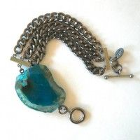 Triple Gunmetal Curb Chain Bracelet with Turquoise Agate