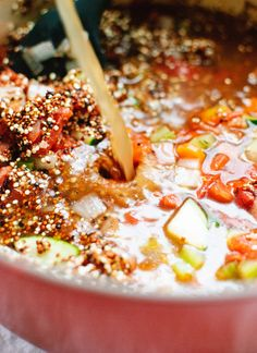 How to make quinoa vegetable soup - cookieandkate.com
