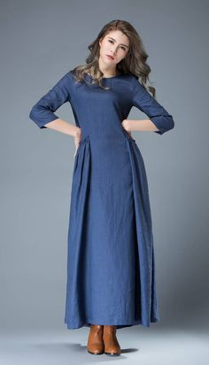 Maxi Blue Linen Dress  Cobalt Long Lagenlook Spring Summer