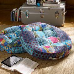 Kantha Cloth Floor Pillow, Cool | PBteen