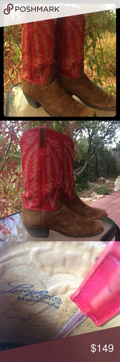 Cowboy boots Lucchese Handmade. Suede with red tops. 8.5 ELECTION SALE GO VOTE!!!🇺🇸🇺🇸🇺🇸. Lucchese Shoes Heeled Boots