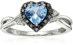 10K White Gold Blue Topaz Heart with Black and White Diamond Ring Size 6 >>> Want additional info? Click on the image.