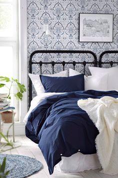 Ellos Home Sengesæt Neely – vasket bomuldspercale Home Bedroom, Home Living Room, Beddinge, White Houses, White Decor, Beautiful Bedrooms, Home Furniture, Sweet Home, Room Decor