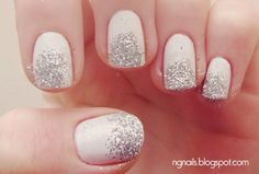White with Glitter Tip Nails