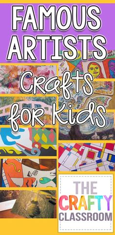 your own artistic interpretations of famous artists' work with these Famous Artists Crafts for Kids!Create your own artistic interpretations of famous artists' work with these Famous Artists Crafts for Kids! Art Lessons For Kids, Art Activities For Kids, Art Lessons Elementary, Art For Kids, Crafts For Kids, Preschool Art Lessons, Kids Diy, Famous Artists For Kids, Famous Artists Paintings