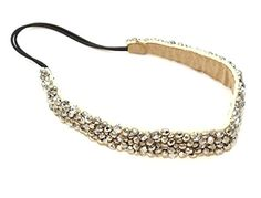 A perfect hair accessory for everyday or special occasions, for hair styles up or down. Beautiful elastic headband with a unique design of rhinestones crystals and beads in silver tone. The beaded side measures 13 inches and elastic side 7 inches. Would be a lovely wedding headpiece for the bride, bridesmaids, or a unique gift for a friend. Not to plain. Not too fancy. Just right! Lovely stocking stuffer for women, teens, and girls. #YourWedding