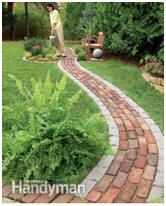 Build a Brick Pathway in the Garden Make a simple garden path from recycled pavers or cobblestones set on a sand bed. Learn all the details of path building, from breaking cobblestones to easy, fast leveling using plastic landscape edging. Diy Garden, Dream Garden, Garden Paths, Shade Garden, Walkway Garden, Quick Garden, Garden Web, Garden Steps, Balcony Garden