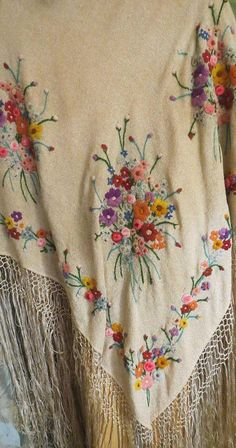Antique Embroidered Piano Shawl Large with long Fringe