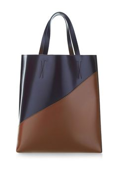 Dark Aubergine And Olive Large Museum Shopping Tote by Marni for Preorder on Moda Operandi