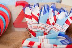 Adorable Red + Blue Choo Choo Train themed birthday party via Kara's Party Ideas KarasPartyIdeas.com Printables, cake, desserts, favors, supplies, and more! #choochootrain #trainparty (15)
