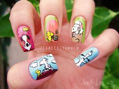 Snoopy And Woodstock Thanksgiving Nails
