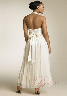 Summer Inexpensive Tea-length Halter A-line Bridesmaid Wedding Dress (Back)SOD35032m ($130.79).  This dress is a chiffon material and comes in royal blue .