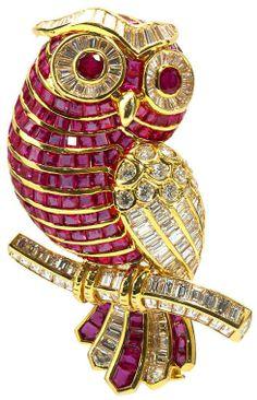 David Webb diamond & ruby owl brooch
