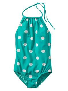 teal polka dot one piece for little girls and tweens