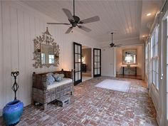 Southern Star Trisha Yearwood Selling Country House Near Nashville   Zillow Blog. Love that brick floor on the back porch.