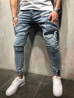 "Men Skinny Fit ""No Mercy"" Ripped Short Ankle Jeans - Dark Blue 3737 Streetwear Jeans, Streetwear Fashion, Men's Fashion, Fashion Night, Fashion Vintage, Fashion Pants, Fasion, Fashion Ideas, Hip Hop"