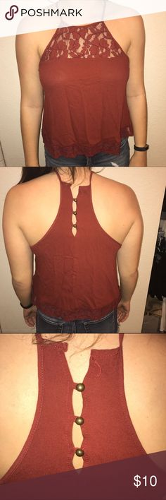 Lace Tank Top Rust colored tank top with lace detail. The top button fell off, but in no way effects the fit of the shirt. Only worn once! Forever 21 Tops Tank Tops
