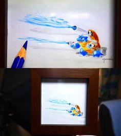 pokemon art for bugs.Pokemon - Blastoise has been coloring in watercolor pencils. 虫さんのためのポケモン・カメックスの水彩色鉛筆ぬり絵です。 #pokemon #Blastoise #go #art #ポケモン #カメックス #アート