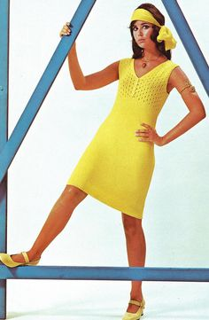 V Neckline Knitted Dress PDF Pattern Bust Size 35 to 39 inches Vintage Knitting 1970s Reproduction Instant Digital PDF ePattern Download