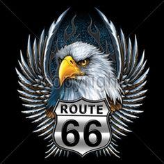 Wholesale Biker T-Shirts, Custom T-Shirts, Motorcycle T-Shirts -13034-12x14-rt66-eagle-head-wings