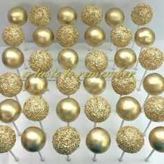 Gold bridal shower cake pops (Golden Snitch Pops, just add velum wings! Cakepops, Bridal Shower Cakes, Gold Bridal Showers, Wedding Cake Pops, Wedding Cakes, Cake Pop Designs, 50th Wedding Anniversary, Gold Party, Candy Buffet