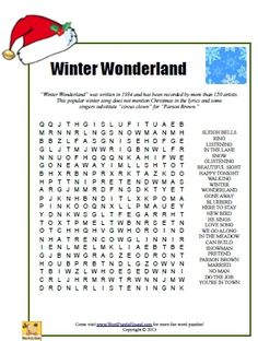 Printable WINTER crossword puzzle. | Word Search and Crosswords ...