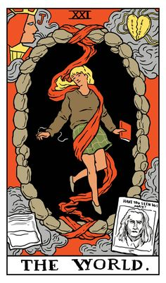 """The World Twin Peaks Tarot Card by Benjamin Mackey. """"Faster and faster. And for a long time you wouldn't feel anything. And then you'd burst into fire. Forever... And the angel's wouldn't help you. Because they've all gone away."""""""