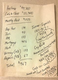 Rental Property Numbers So Easy You Can Calculate Them on a Napkin (With Real-Life Example!) Rental Property Numbers so Easy You Can Calculate Them on a Napkin Real Estate Business, Real Estate Investor, Real Estate Marketing, Marketing Plan, Online Marketing, Home Buying Tips, Home Buying Process, Real Estate Rentals, Real Estate Tips