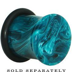 00 Gauge Acrylic Teal Blue Marble Saddle Plug