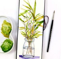 my sketchbook practise Nature Illustrations, Bamboo, Watercolor, Ethnic Recipes, Food, Pen And Wash, Watercolor Painting, Essen, Watercolour
