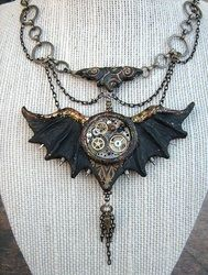 necklace bat wings steampunk