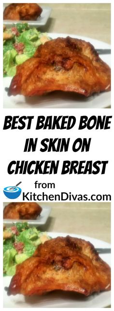 These are the Best Baked Bone In Skin On Chicken Breasts I have ever made. For me crispy skin is the key to an awesome baked chicken breast. This recipe is simple quick and totally delicious. Whether you use tarragon sage or just garlic you will make t Baked Bone In Chicken, Bone In Chicken Recipes, Roasted Chicken Breast, How To Cook Chicken, Chicken Skin, Chicken Breast Rib Meat Recipe, Simple Baked Chicken Recipes, Chicken Legs, Simple Recipes