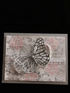 Wedding card with butterfly framelit